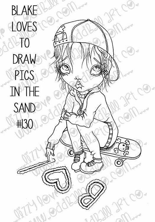 Printable Stamp Big Eye Skater Girl Blake Draws Pics in the Sand Image No 130
