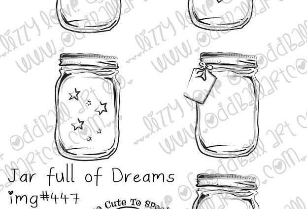 Digital Stamp Whimsical Mason Jars Fireflies Jar full of Dreams Image No. 447