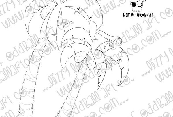 Digi Stamp Creepy Cute Palm Trees, Flag & Sentiment Pirate Caves Image # 507