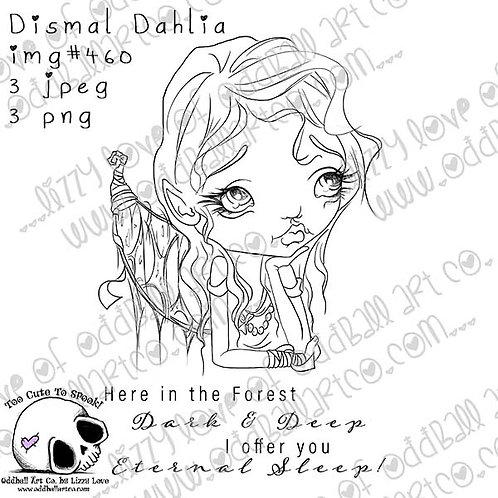 Printable Stamp Dismal Dahlia Dark Fairy Elf Digital Download Image No 460