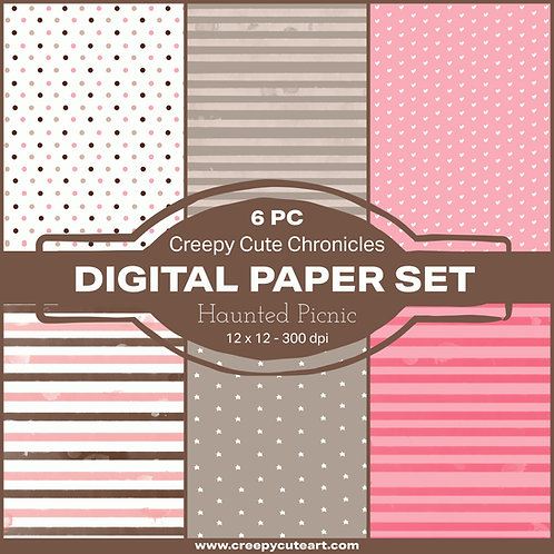 Digital Paper Set CCC 149 Haunted Picnic 6pc 12 x 12 300dpi by Lizzy Love