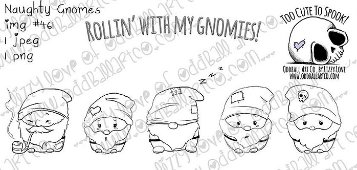 Digital Download Printable Stamp Cute Gnomes Rollin With My Gnomies Image No 461