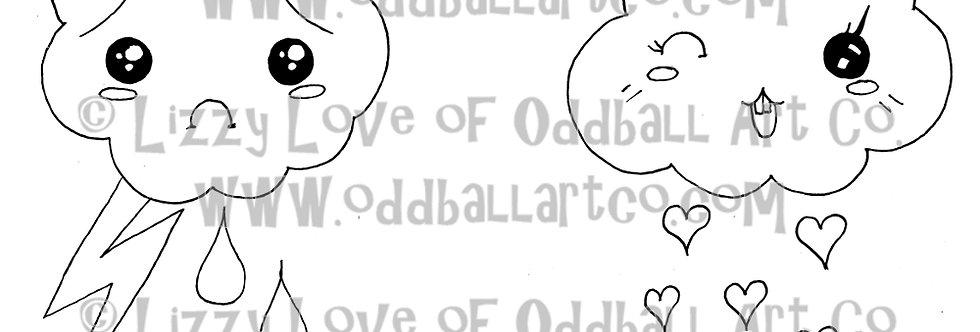 Digital Stamp Happy & Sad Kawaii Clouds Image No.14