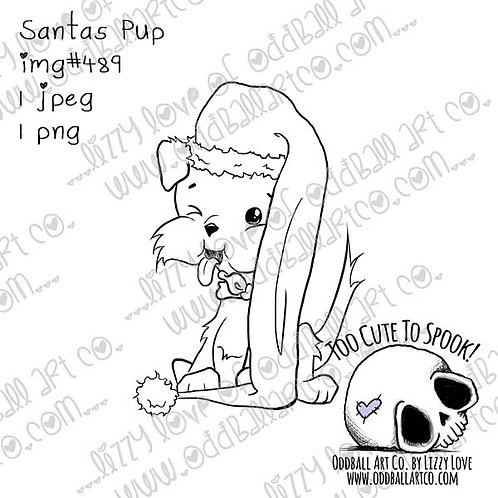Digi Stamp Cute Whimsical Christmas Dog Santas Pup Image No. 489
