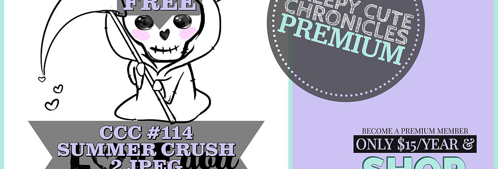 CCC# 114 SUMMER CRUSH DIGI STAMP Creepy Cute Chronicle