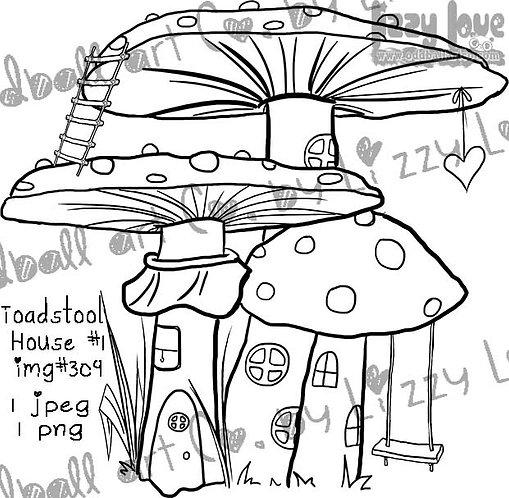 Digital Stamp Whimsical Mushroom Home Toadstool House No. 1 Image No. 309
