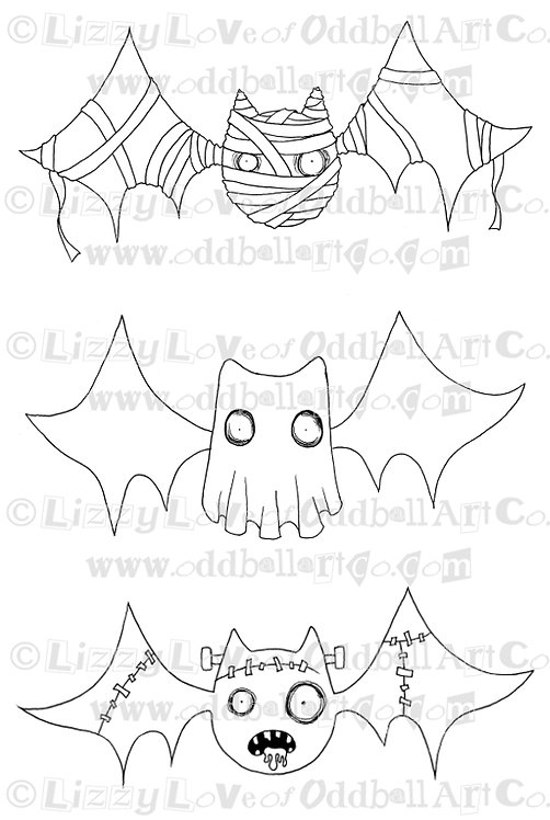 Digi Stamp Creepy Cute Halloween Bats Mummy Ghost & Frankenstein Image No 84