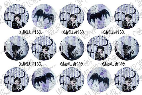 Bottlecap Images Digital Collage Sheet 1 Inch Circles ~ Spooky Tales
