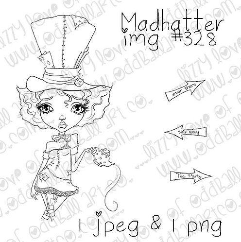 Digital Stamp Whimsical Big Eye Alice In Wonderland Stamp Madhatter Image No.328