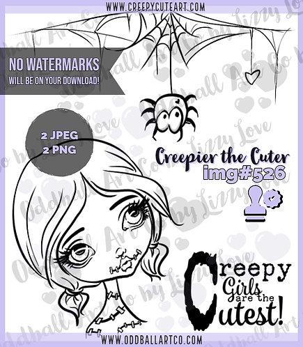 Digi Stamp Creepy Cute Big Eye Girl Zombie Creepier the Cuter Image 526