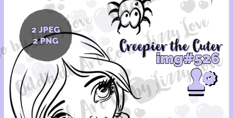 Digi Stamp Creepy Cute Big Eye Girl Zombie Creepier the Cuter Image 526