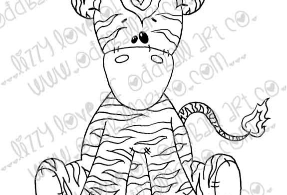 Digital Stamp Whimsical Ragdoll Zeddy the Zebra Image No. 209
