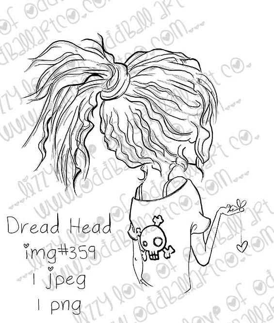 Digital Stamp Creepy Cute Girl Dread Head Image No.359
