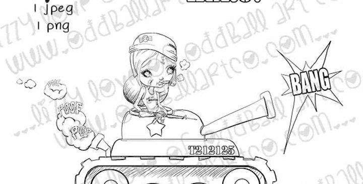 Digital Stamp Big Eye Army Girl Stamp Little Miss Military Image No. 335