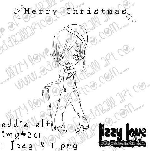 Digital Stamp Cute Whimsical Elf Eddie the Elf Image No. 261