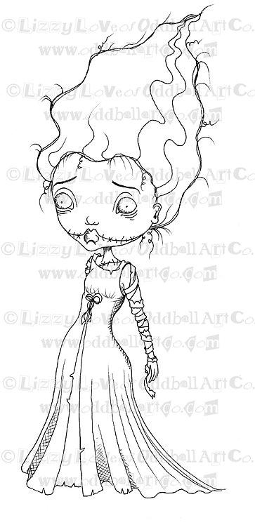 Digital Stamp Creepy Cute Bride of Frankenstein Girl Image No. 78