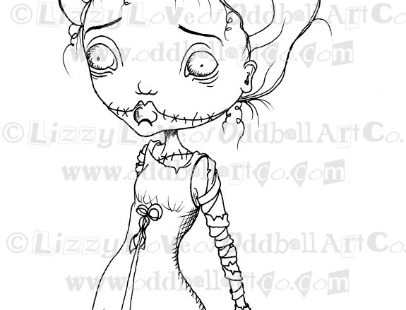 Digital Stamp Creepy Cute Bride of Frankenstein Girl Image No. 78