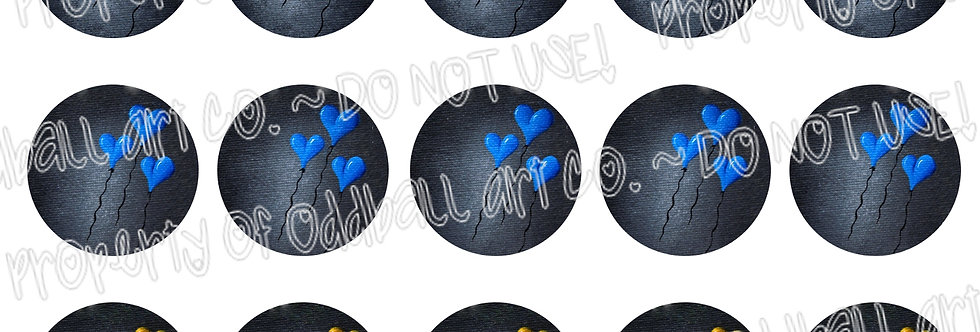 Bottlecap Images Digital Collage Sheet 1 Inch Circles ~ Balloons of Love