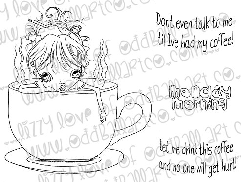 Digital Stamp Monday Mornings Frazzled Fran Needs Her Coffee Image No. 154