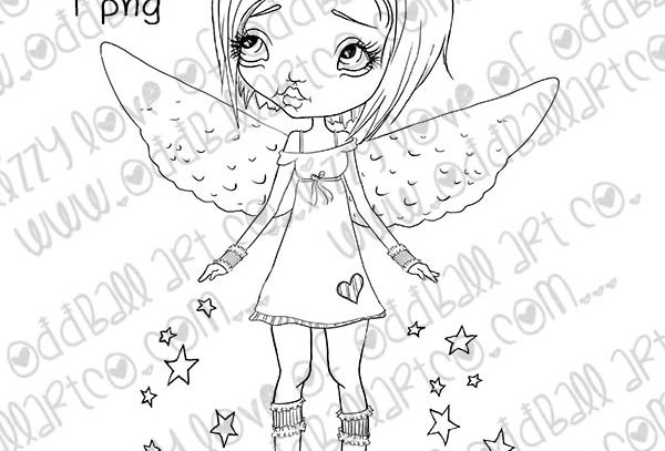 Digital Stamp Kawaii Christmas Fairy X-mas Angel No.355