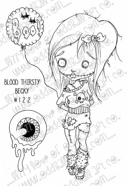 Digi Stamp Creepy Cute Big Eye Zombie Girl with Boo Balloon Image #122