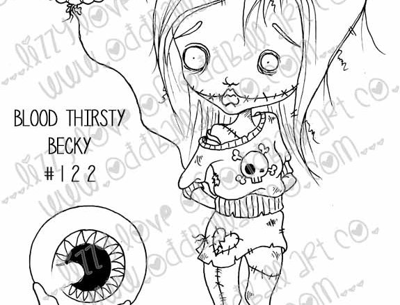 Digi Stamp Creepy Cute Big Eye Zombie Girl with Boo Balloon Image #122