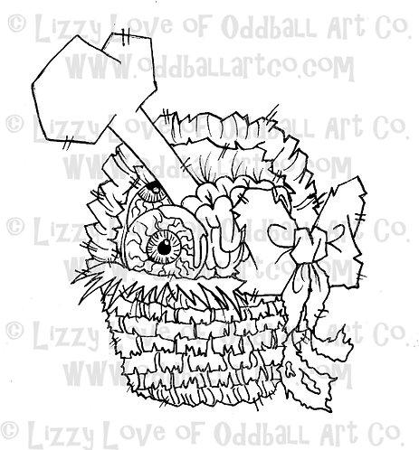 Digital Stamp Creepy Cute Easter Basket ONE DOLLAR STAMP Image No. 36