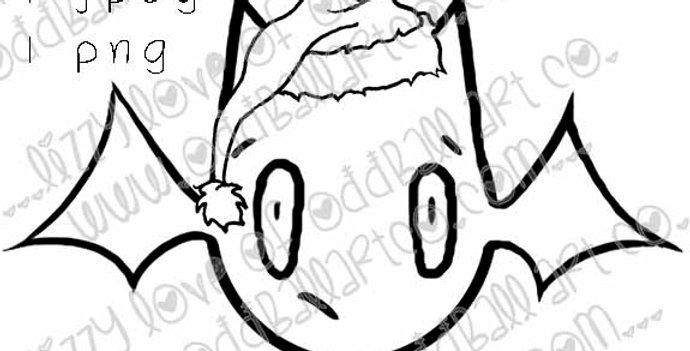 Digital Stamp Kawaii Creepy Cute Christmas Bat Image No. 272