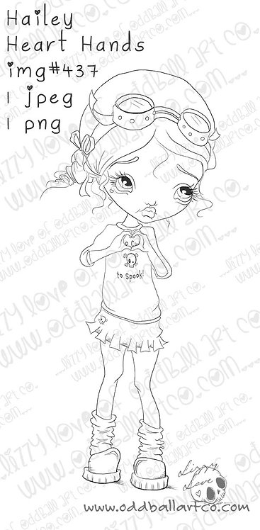 Digital Stamp Cute Big Eye Girl Hailey Heart Hands Image No. 437