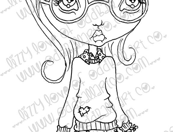 Digital Stamp Cute Big Eye Girl w/ Glasses Paityn Image No. 77