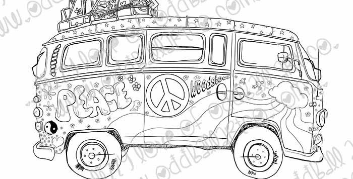 Digital Stamp Cool Hippie Flower Power Peace Van Image No. 312