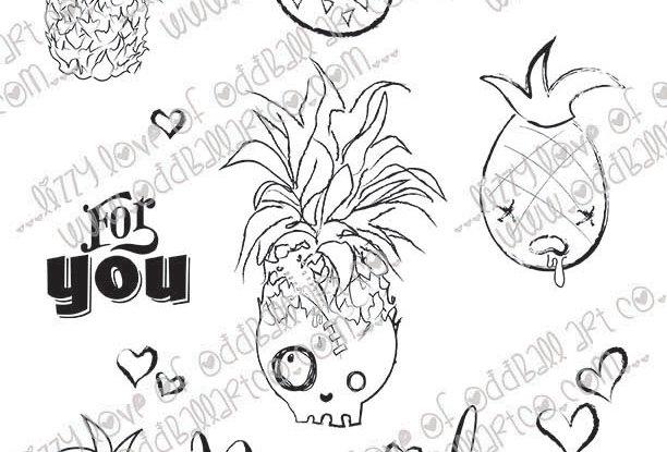 Digital Stamp Creepy Cute Pineapple Doodles Spooky Sweet Image No 448