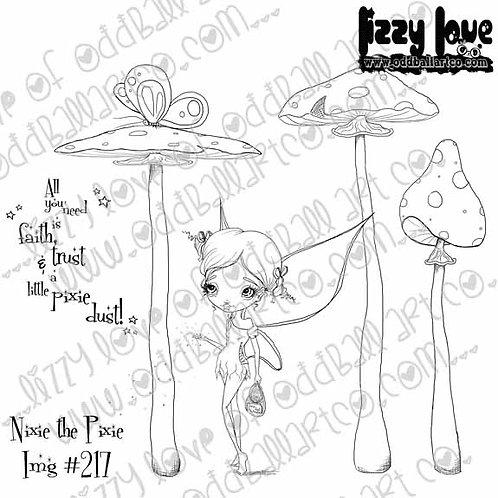 Digital Stamp Whimsical Big Eye Fairy Nixie the Pixie Image No. 217