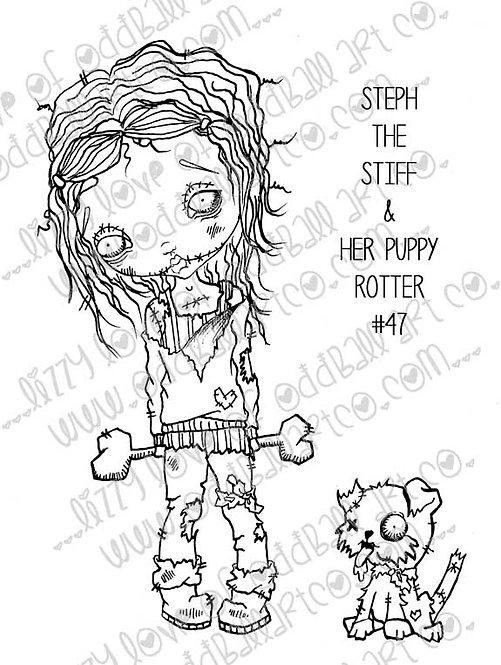 Digital Stamp Creepy Cute Big Eye Zombie Girl with Dog Image No. 47