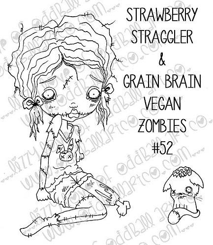 Digital Stamp Creepy Cute Big Eye Zombie Girl & Kitten Image No. 52