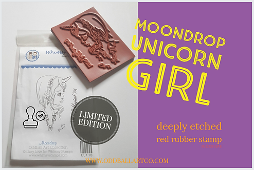 Rubber Stamp Limited Edition Moondrop Unicorn Girl