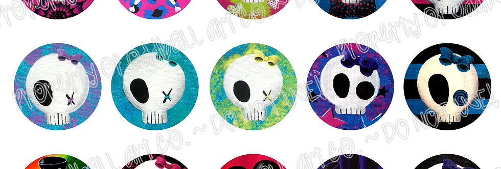 Bottlecap Images Digital Collage Sheet 1 Inch Circles ~ Pretty In Punk
