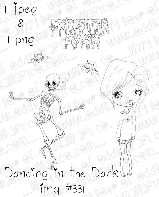 Digital Stamp Creepy Cute Skeleton Bats & Girl Dancing in the Dark Image No. 331