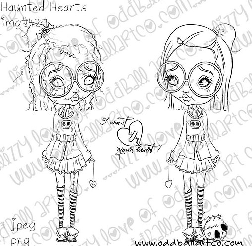 Digital Stamp Creepy Cute Zombie Big Eye Girl ~ Haunted Hearts Image No. 427