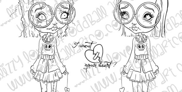 Digital Stamp Creepy Cute Zombie Big Eye Girl ~ Haunted Hearts Image No. 427