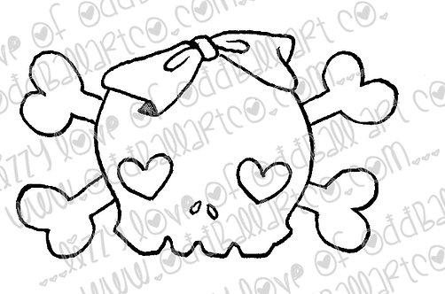 Digital Stamp Kawaii Heart Skull & Crossbones w/ Bow Image No 147