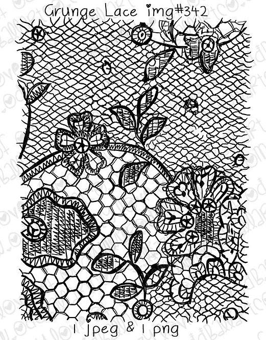 Digital Stamp Hand Drawn Lace Pattern Grunge Lace Image No.342