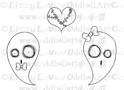 Digi Stamp Creepy Cute Ghost Love Stitched Heart Image No 82