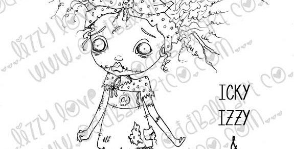 Digital Stamp Creepy Cute Big Eye Zombie Girl & Owl Image No. 50
