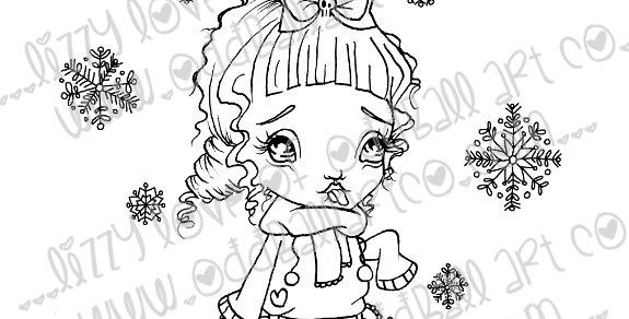 Printable Stamp Christmas Chibi Kitten & Snowflake Digital Download Image No 173