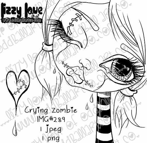 Digital Stamp Creepy Cute Big Eye Zombie Girl Crying Zombie Image No. 289