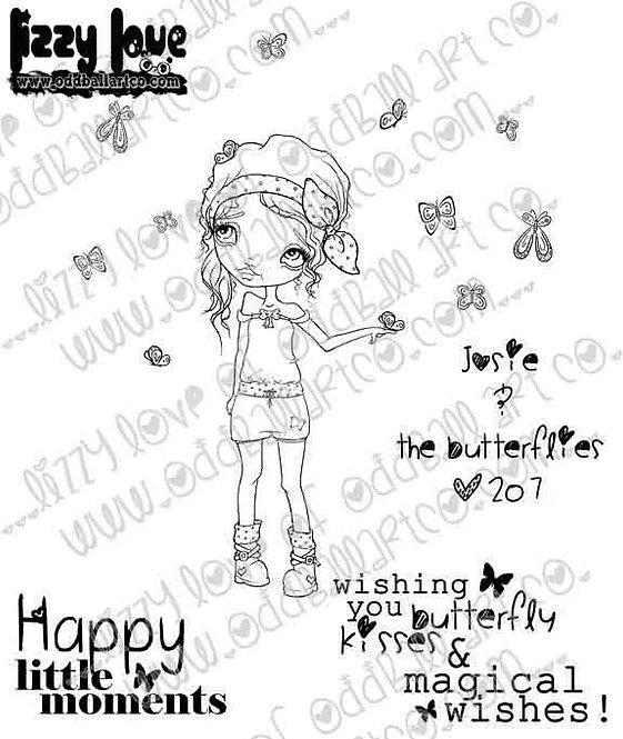 Digital Stamp Big Eye Girl Josie & the Butterflies Image No. 207