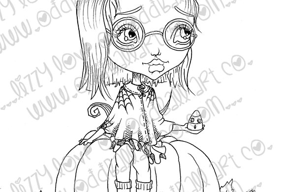 Digital Stamp Big Eye Girl & Pumpkin Clarissa Image No. 80