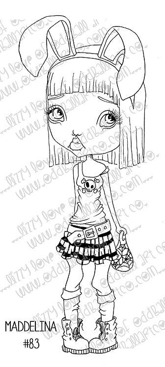 Digi Stamp Creepy Cute Big Eye Bunny Girl Maddelina Image No 83