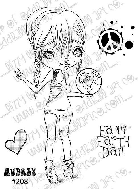 Digital Stamp Big Eye Hippie Chick Earth Day  Audrey Image No. 208